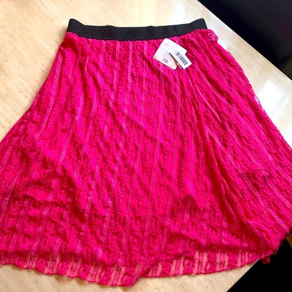 Lularoe Lace NEON pink skirt